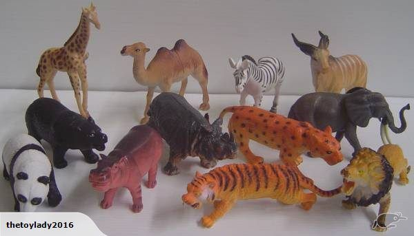 12 Safari Animals  Giraffe is 16cm high  zebra is 13cm long  Panda 10cm long (the smallest)  leopard 17cm long  Made of good quality softish plastic  Brand new ...