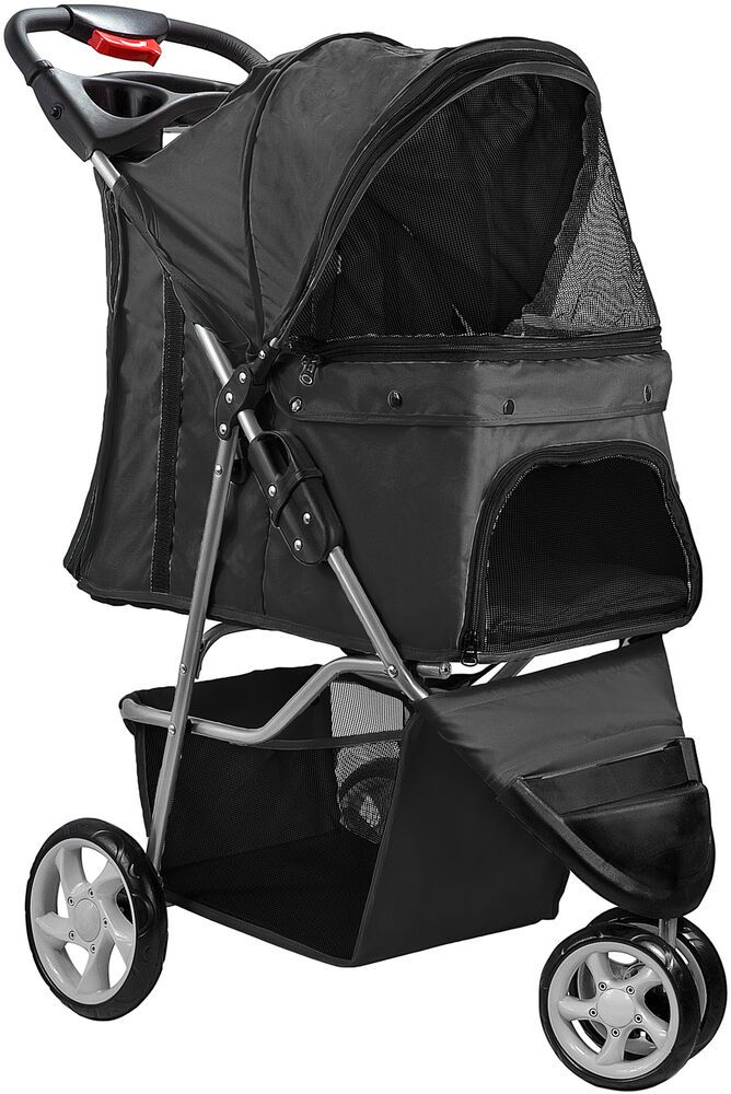 Details about Pet Stroller Cat Dog 3 Wheel Walk Jogger