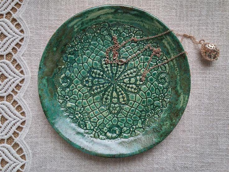 Grüne Keramik Schale, Schmuck Schale, Juwelen Aufbewahrung, Schmuck Teller,  Romantisches Geschenk,