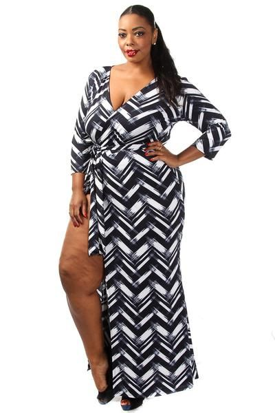 This hot plus size dress features a chevron print body, low cut v-neck and a high side slit. Soft, stretch material Tight fit 95% Polyester 5% Spandex Model wearing 3X Made in USA