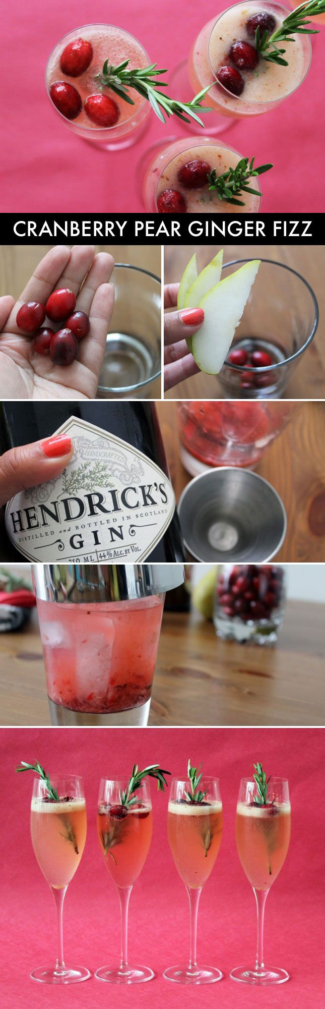 Cranberry pear ginger fizz - such a festive holiday cocktail!