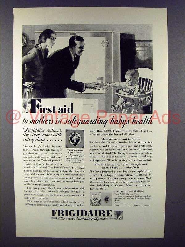 1929 Frigidaire Refrigerator Ad - First Aid Baby Health