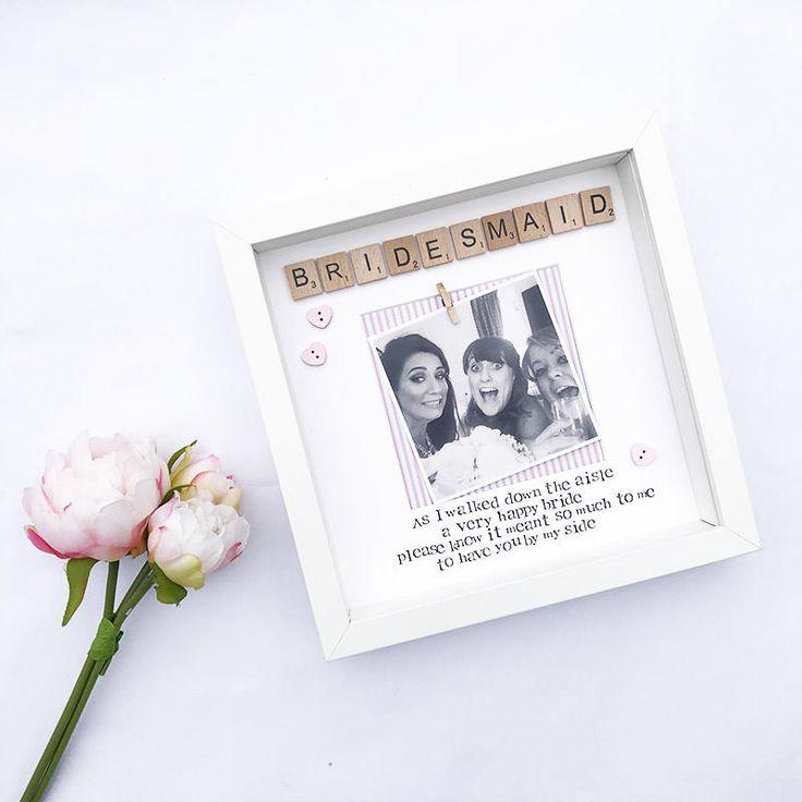 Bridesmaid poem personalised photo frame with FREE photo
