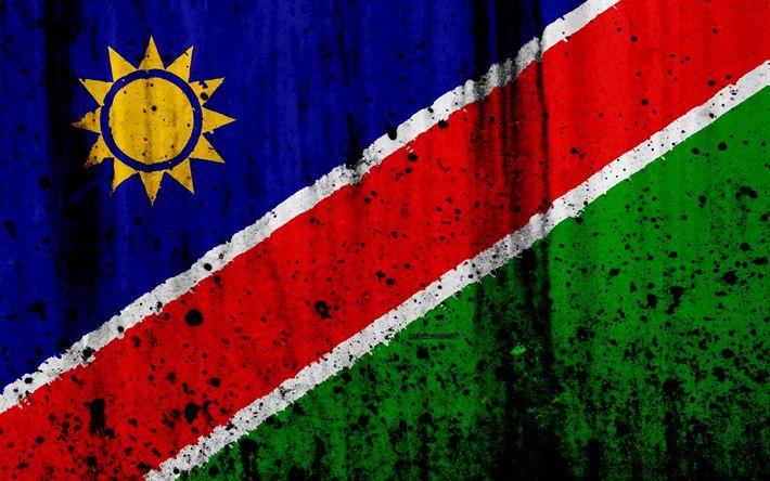 Download wallpapers Namibian flag, 4k, grunge, flag of Namibia, Africa, Namibia, national symbols, Namibia national flag