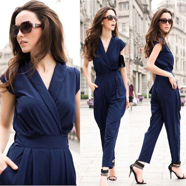 jumpsuit elegante mono azul Palazzo Pants profunda v-cuello - Buscar con Google