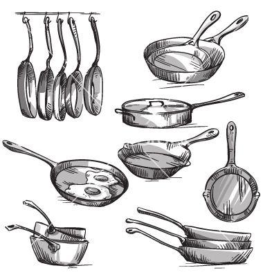 Set of frying pans vector sketch by kamenuka on VectorStock®