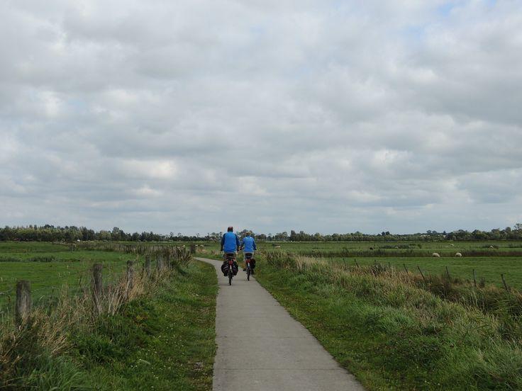 Fietsen door het Friese landschap achter Kollumerzwaag. Eigen bayke foto.