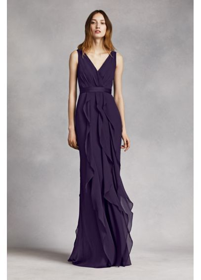 """V-Neck Wrapped Bodice Dress with Satin Belt VW360189 in the color """"Horizon"""""""