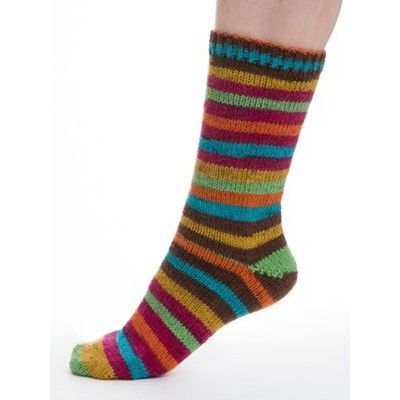 Aurora Sock by Dale of Norway makes evenly spaced stripes as you work. This superwash wool yarn includes nylon for strength and is machine-washable. Made in China