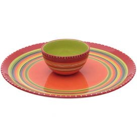 Two-piece ceramic chip & dip set hand-painted with a Southwestern stripe motif.  Product: Chip and dip setConstruction Material: CeramicColor: MultiFeatures:  Designed by Nancy GreenHand-painted Dimensions: 6.25 H x 18.75 Diameter (overall)Cleaning and Care: Dishwasher and microwave safe