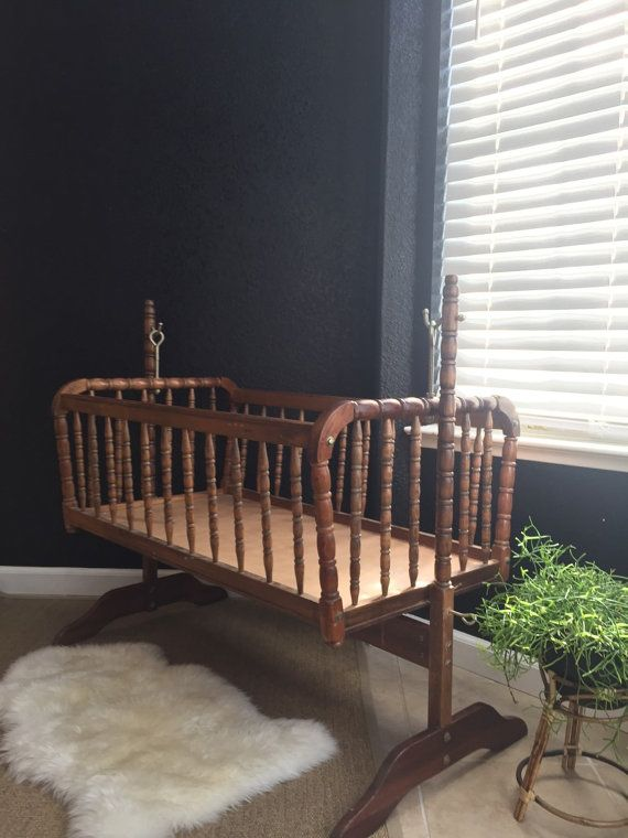 vintage wooden rocking jenny lind baby crib / spindle by simplychi