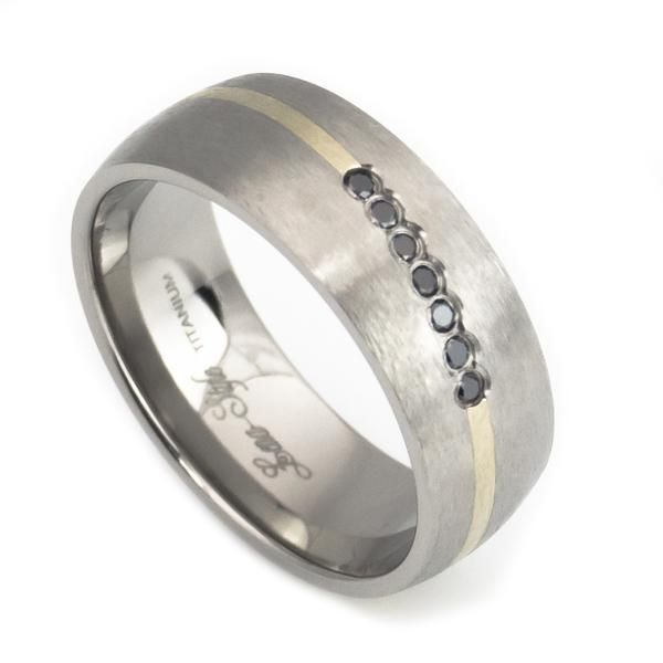 Bands Mens Rings Titanium Wedding Ring With 14k Yellow Gold Inlay