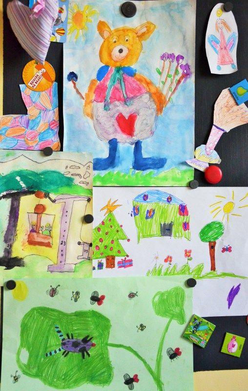 miejsce na wystawę (farba kredowa i magnetyczna, ściana w dziecięcym pokoju)