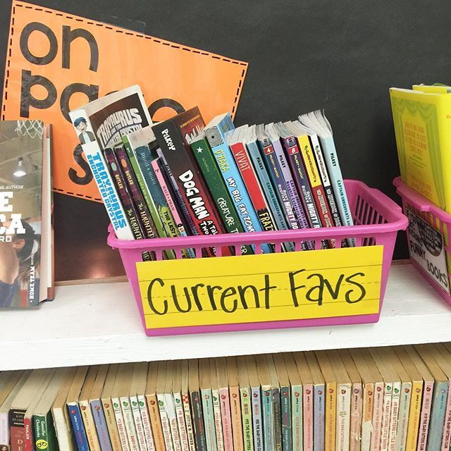 """I am loving the way our classroom library is developing! Some of the kids were leaving their favorites up on the shelf so others could find them, so I made a """"current favs"""" basket and they are LOVING it! See any favorites your kids are loving?! Right now, the Ricky Ricotta's Mighty Robot series and Notebook of Doom are flying off the shelves."""