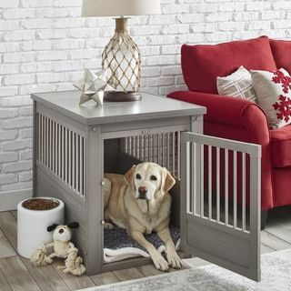 ecoFLEX Dog Crate/ End Table with Stainless Steel Spindles | Overstock.com Shopping - The Best Deals on Crates #PuppyCrates