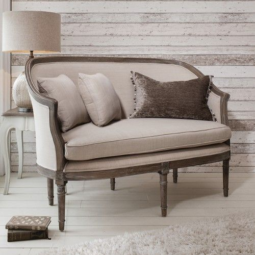 "The Maison sofa set has a wonderful 2 seater sofa complete with two scatter cushions and a grand single arm chair. All are available in a weathered finish frame with either soft grey linen cotton or natural linen cotton upholstery. W56"" x D29.5"" x H36.5"" (W1370 x D720 x H920mm). Free UK delivery at www.mayfairhomefurniture.com"