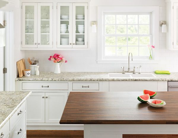 Love this countertop/White cabinet combo. Counter: Typhoon Ice from Wilsonart