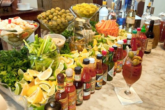 Bloody mary bar...none beats mine on football sundays at the hoot...with fried bacon, beef jerky, ham and bacon wrapped cheddar and swiss kabobs, pickled vegetables, meatball and pepper kabobs...and much much more..yum!!