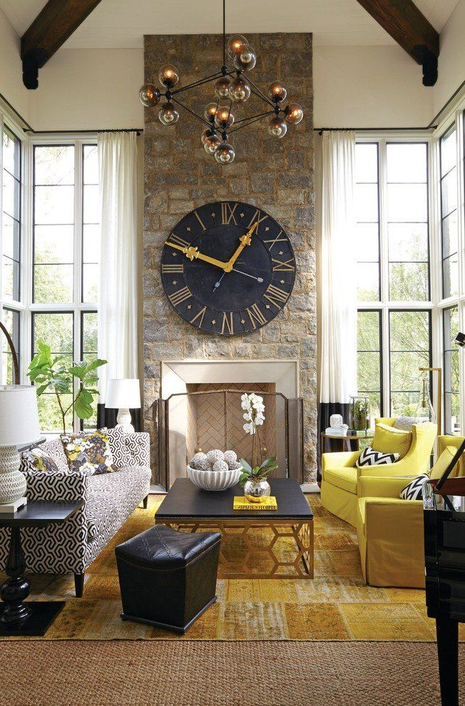 Modern Clocks For Living Room Modern Wall Clocks Living Room Transitional With In 2020 Living Wall Decor Living Room Decor Yellow Living Room