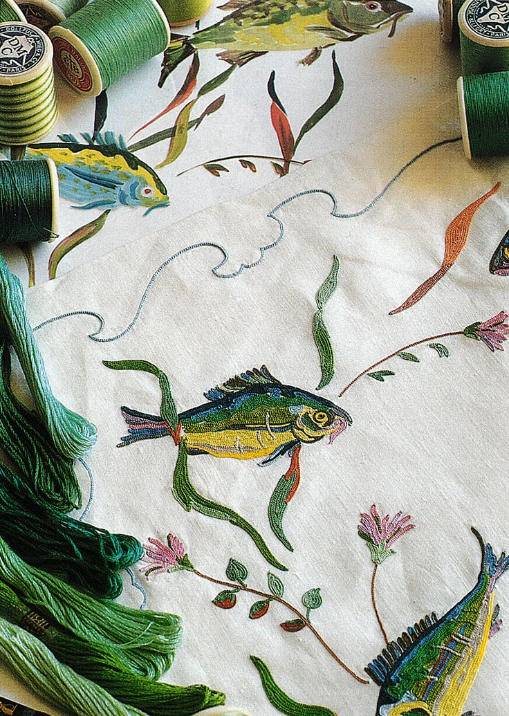 Embroidery on Porthault linens for Aristotle Onassis' yacht the 'Christina'.
