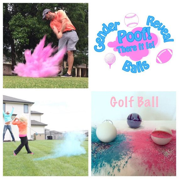 What is included: 2 Golf Balls (Select color combination and style) and 1 Practice Ball filled with both Pink and Blue chalk. Each ball is hand made at our house specific for your order. We fill our balls to the brim with powder to ensure the brightest most colorful cloud to reveal your boy or girl. The acrylic shell is sturdy but easily broken when stuck. Each ball is labeled with removable pink or blue yarn. The balls are filled with the most vibrate powder that is non-toxic, non-hazar...