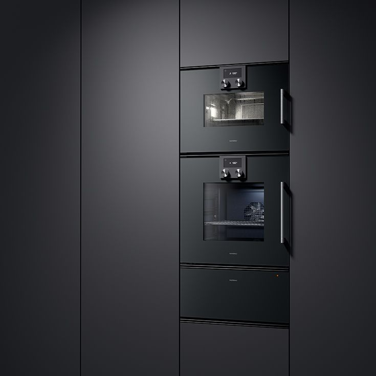 The ovens 200 series. The combination of combi-steam oven, oven and deep warming drawer in Gaggenau Anthracite forms an impressive wall unit. Gaggenau Mettalic or Gaggenau Silver finishes are also available if preferred.