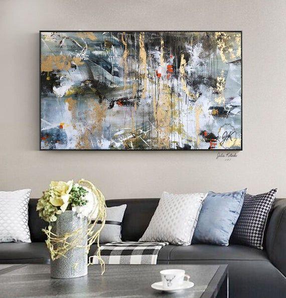 Große Wand Kunst Leinwand, Blattgold Gemälde, strukturierte Wandkunst, blau und Gold Gemälde, über Bett Kunst,
