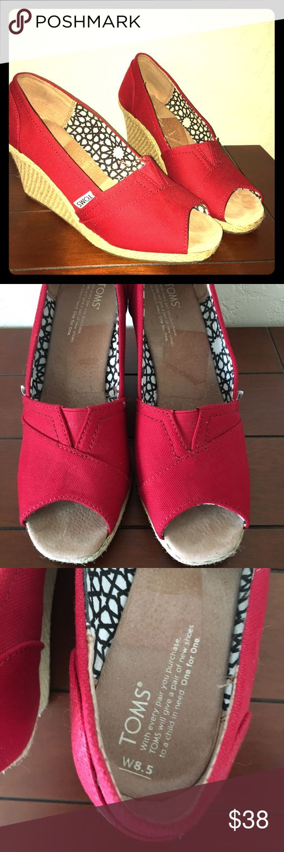 Toms wedge espadrilles peep toe red 8.5 heels rope TOMS wedge espadrilles platform peep toe Rockabilly retro  pin-up style . Size 8.5 , very minimal wear. Worn less than 5 times. From my smoke free home. Please ask all questions prior to purchase as all sales are final, no returns. Please note there is some minimal sticker residue on the inside , as I just recently remove the price-Sz stickers.  My home is smoke free. TOMS Shoes Espadrilles
