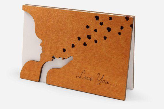 Love You Card, Valentines Day, Anniversary, Happy Birthday Wood Gift for Him Boyfriend Husband Men.