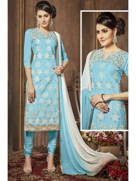 Astinishing Sky blue Embroidered Online Salwar Kameez