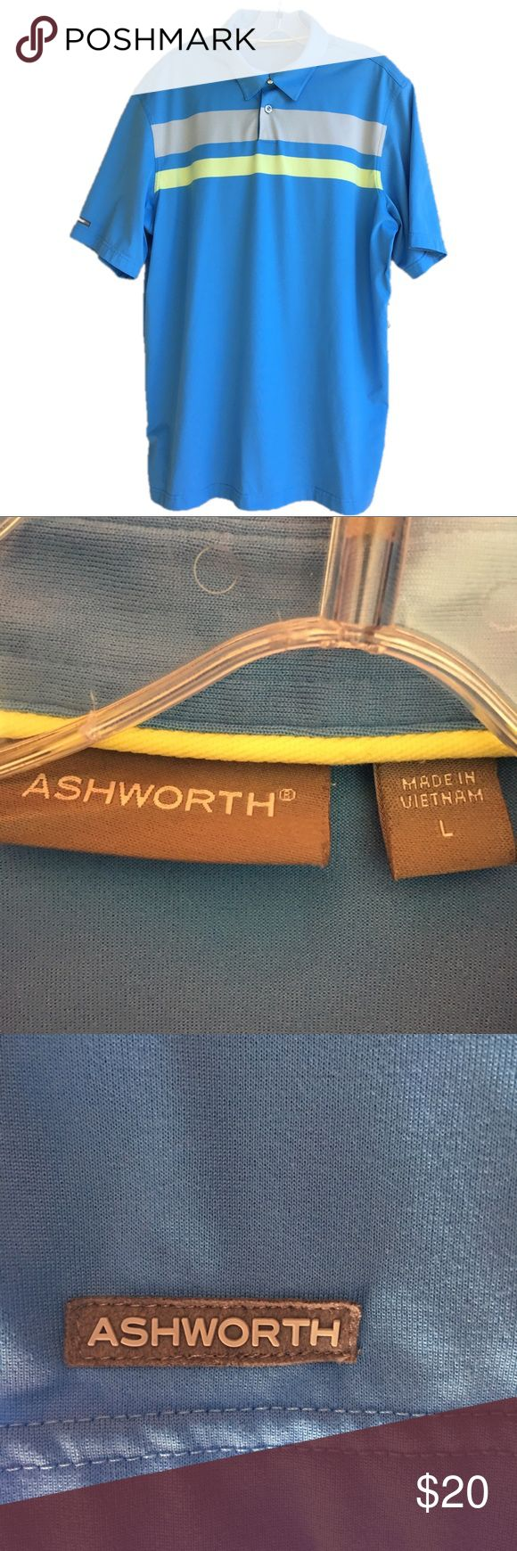 Ashworth Golf Polo Copen blue poly knit 2-button golf polo with yellow/gray horizontal stripes across chest. EUC. Ashworth Shirts Polos