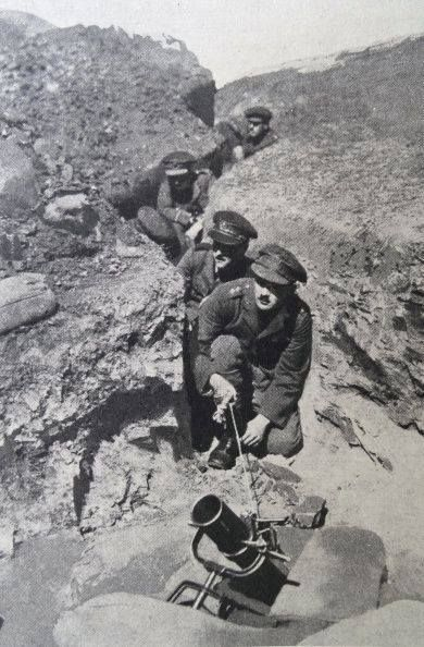 English troops use a mortar to target the enemy during WWI 1916