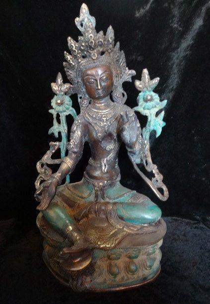 Dewi Tara Goddess Bronze Brass Mix Greenish Patina Seated Meditation Hindu Art