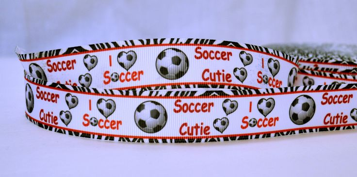 "I heart Soccer Cutie Sports Game Zebra Exotic Skin Pattern Printed Grosgrain Ribbon 1"" Scrapbooking HairBows Parties DIY Projects az536"