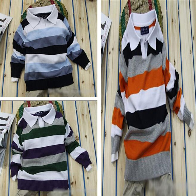 baby boy sweater hot sale boys clothes Lapel striped sweater kids clothing clothes for boys simple vetement garcon pull garcon