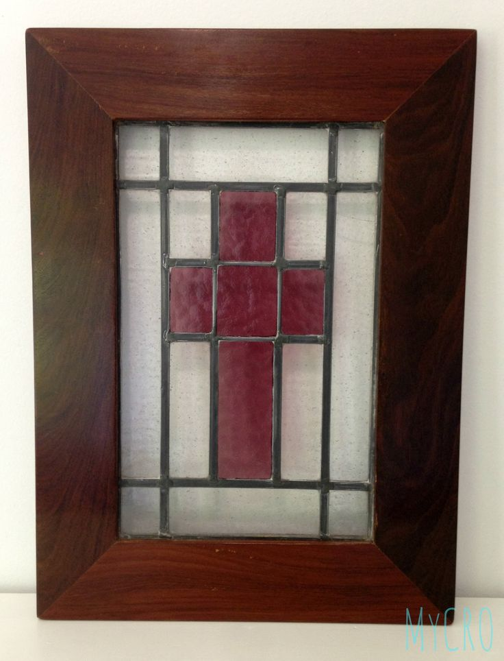 Reclaimed stained glass encased in a handmade Ipe wood frame #unique #cross #stained #glass #Christ #Bible #church #God #religion #scripture #verse #spiritual #ipe #wood #handcrafted #decor #gifts #MyCRO #WM