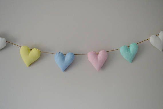 Pastel heart garland / bunting / polka dot / fabric / padded /