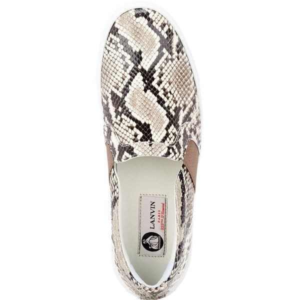 Lanvin Python Slip-on Sneakers ($850) ❤ liked on Polyvore featuring shoes, sneakers, white slip on shoes, white slip on sneakers, round toe sneakers, lanvin shoes and white trainers