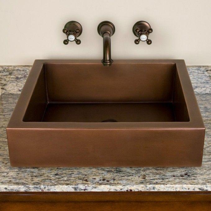 Contemporary Semi-Recessed Copper Sink - Bathroom Sinks - Bathroom