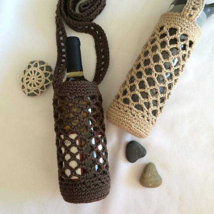 Crochet Water Bottle Holder - Wine Bottle Holder - Large water bottle holder - Crochet cross body holder Under 20 Gift by InLoveWithSunflowers on Etsy