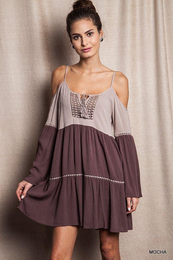 Color Block Boho Dress in Mocha