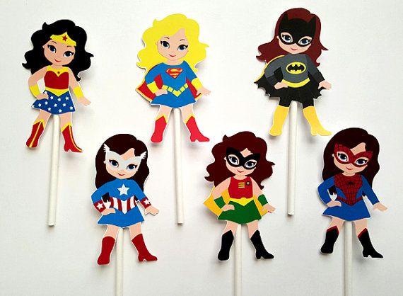 Girl Superhero Cupcake Toppers Superhero Cupcake by CraftyCue