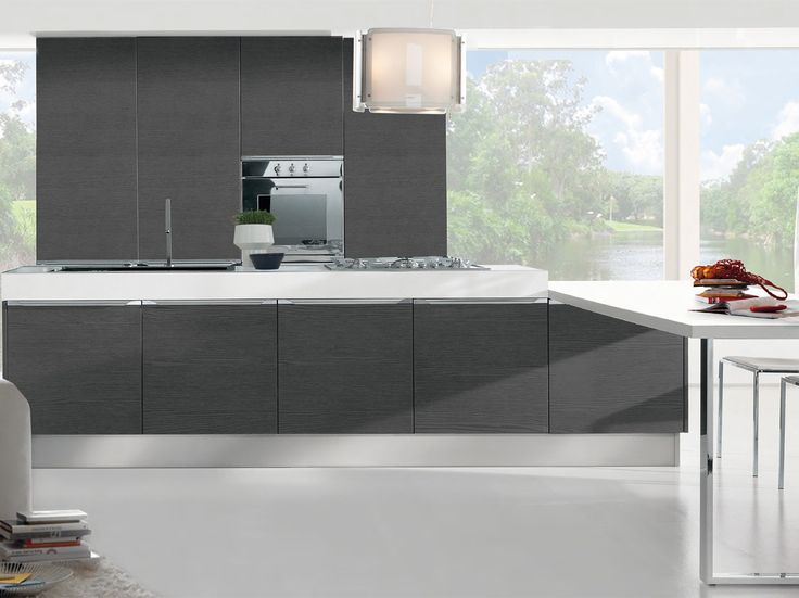 Lacquered fitted kitchen Kitchen with handles Pamela Collection by LUBE INDUSTRIES S.R.L.