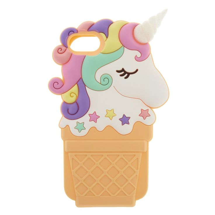 Unicorn Ice Cream Cone Phone Case | A pretty Unicorn Ice Cream Cone Phone Case topped with star sprinkles and glitter. Your phone easily nestles into this 3D silicone phone case.