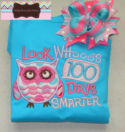 Look Whoo's 100 Days Smarter Applique Shirt and Matching Hairbow - 100 Days of School - Owl - School