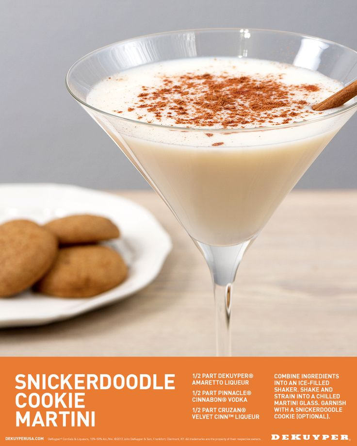 Celebrate the little things in live that you crave. Snickerdoodle Cookie Martini anyone? 1/2 part DeKuyper® Amaretto Liqueur, 1/2 part Pinnacle® Cinnabon® Vodka, 1/2 part Cruzan® Velvet Cinn™ Liqueur. Combine ingredients into an ice-filled shaker. Shake and strain into a chilled martini glass. Garnish with a snickerdoodle cookie.