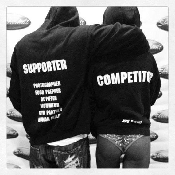 Bikini competitor hoodie for you and your man, or friends/family! couldn't do it without their support :)