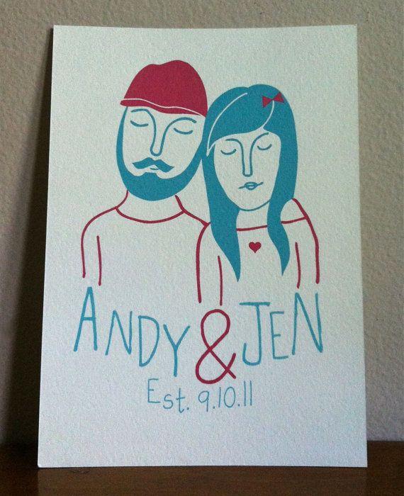 Custom portrait wedding gift for couple by ArthursPlaidPants