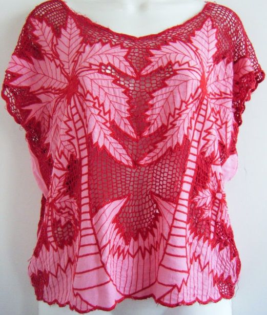 pink palm trees on red [Bali cutwork shirt]