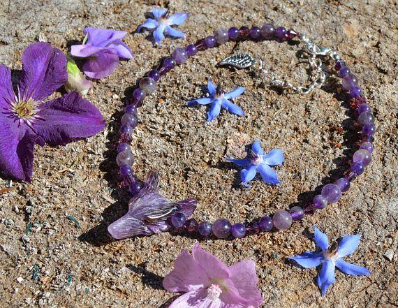Collier améthyste, bijoux semi précieuse, collier loup, bijoux boho elfe, collier cristal violet lavande, bijoux améthyste pierre naissance